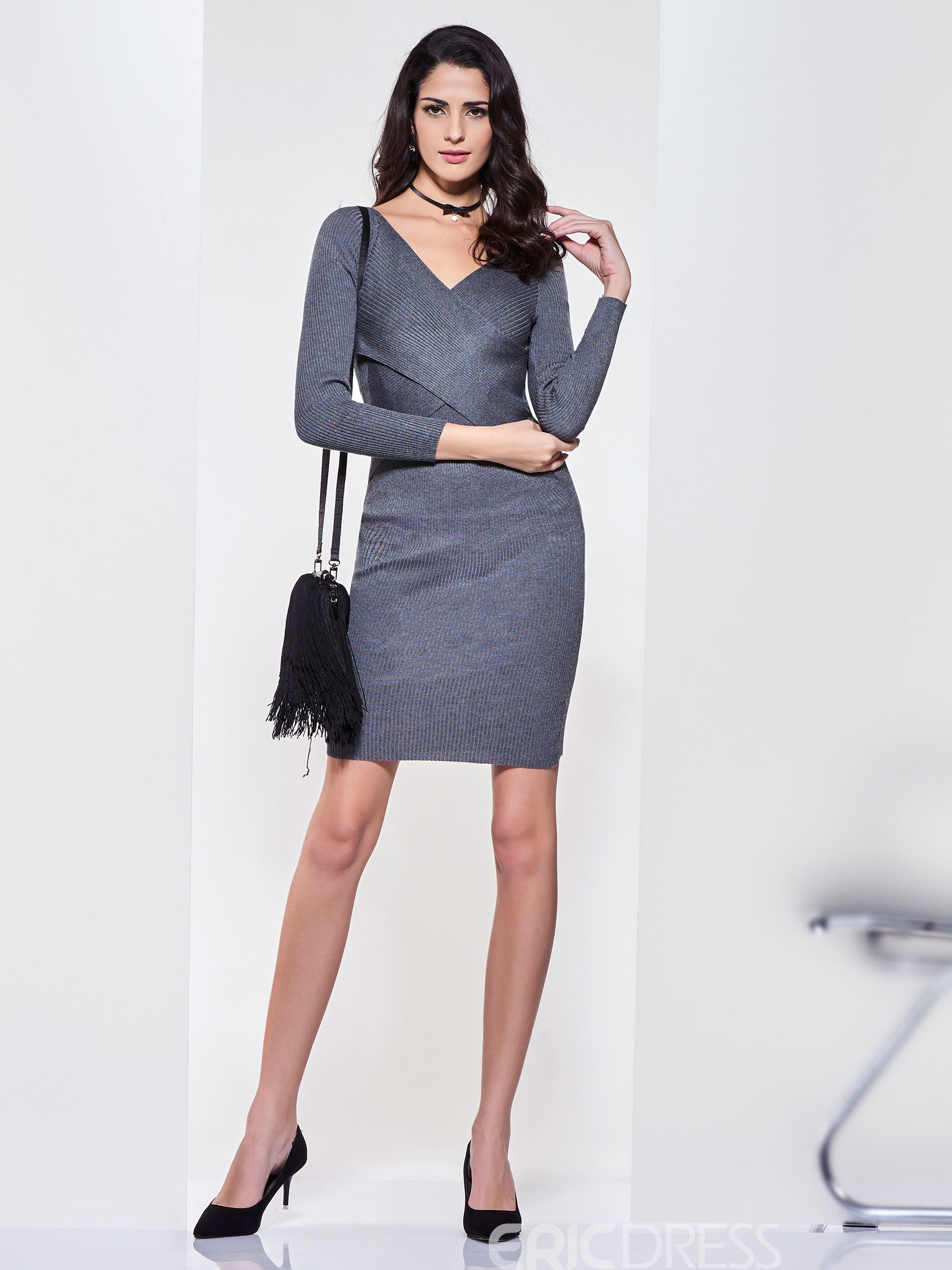 Ericdress Plain V-Neck Pullover Patchwork Sweater Dress
