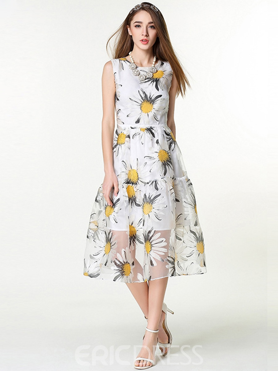 Ericdress Floral Print See-Through Patchwork Sleeveless Casual Dress