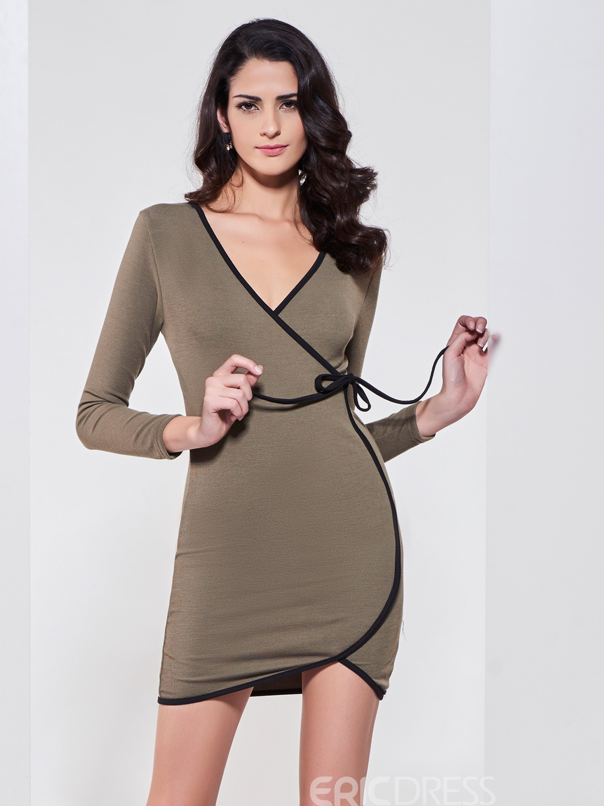 Ericdress Hemming Plain V-Neck Pullover Sweater Dress