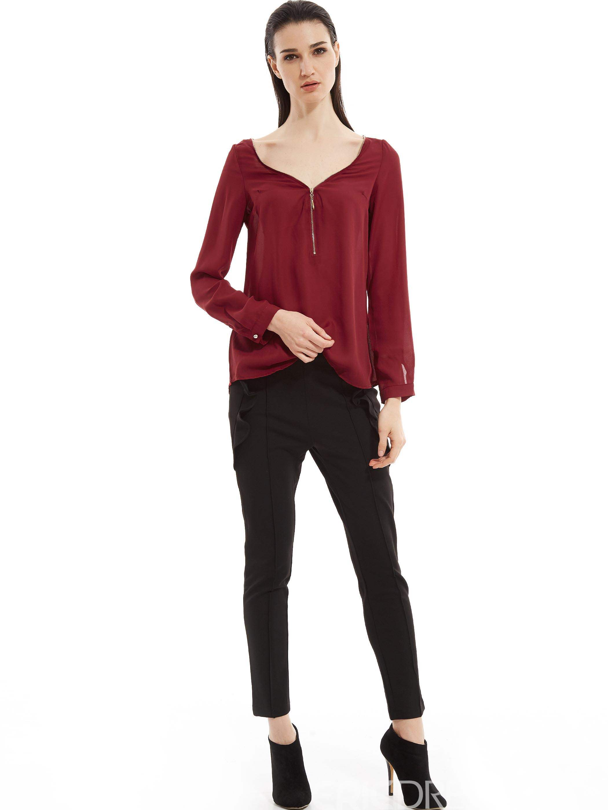 Ericdress V-Neck Plain Zipper Asymmetric Blouse