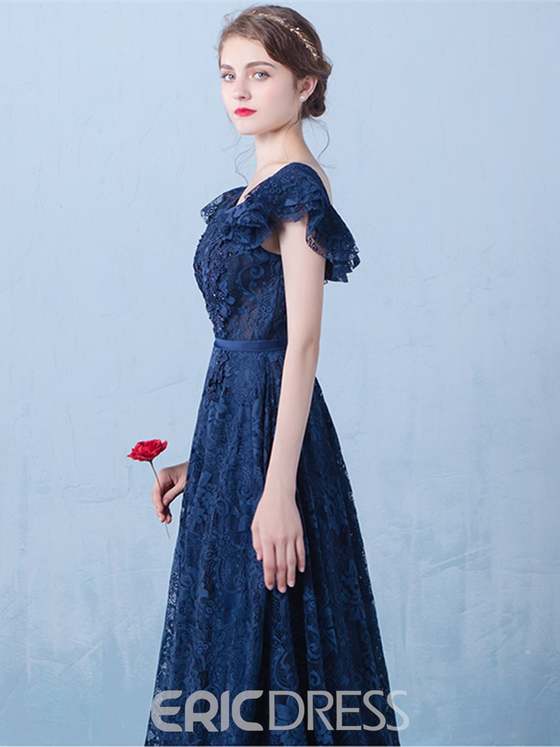 Ericdress A-Line Cap Sleeves Lace Long Evening Dress With Beadings