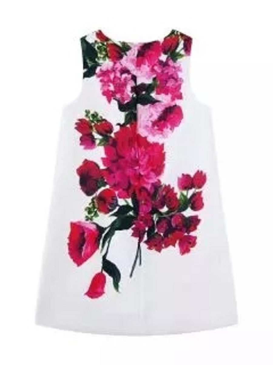 Ericdress Floral Printed Sleeveless A-Line Girls Dress