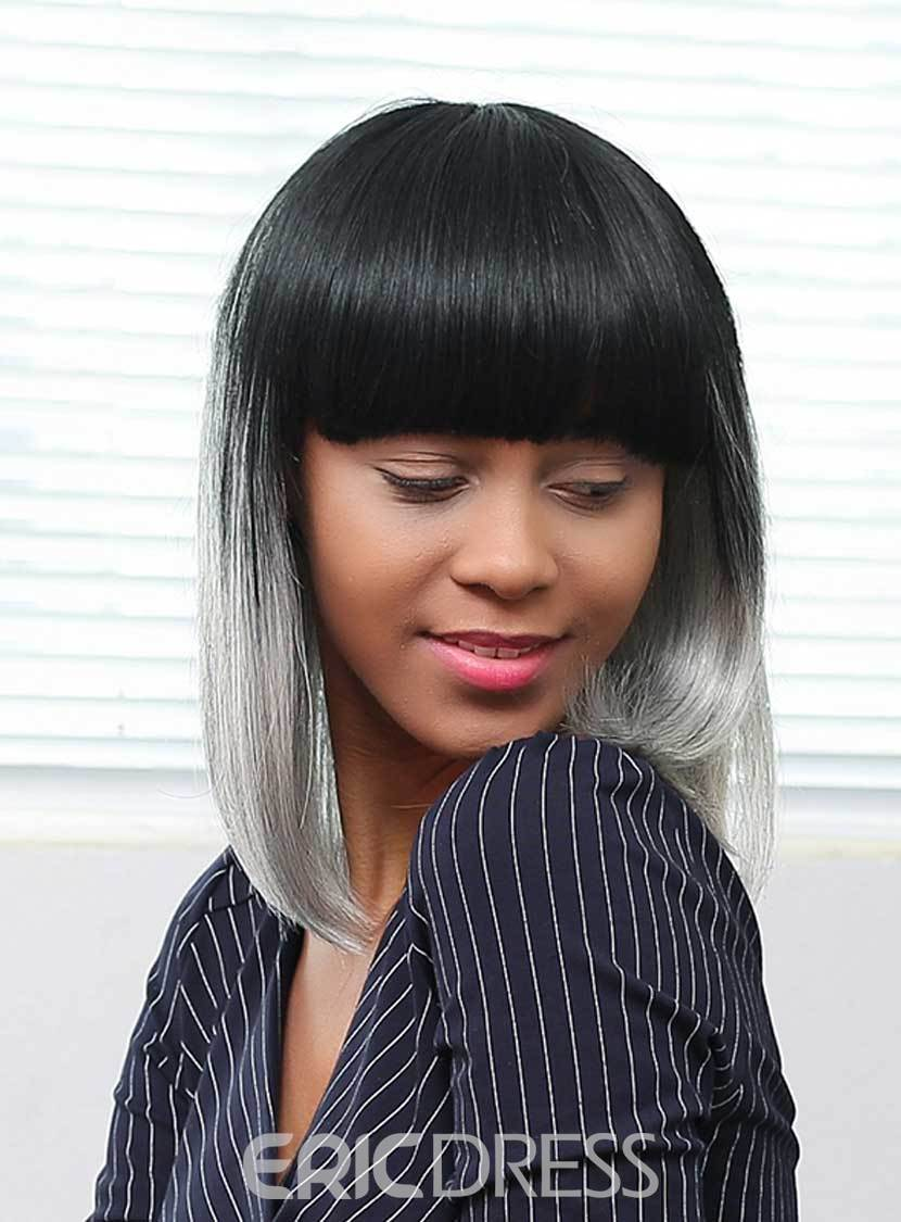 Ericdress Medium Straight Gray Ombre Human Hair With Bangs Capless Wigs 16 Inches