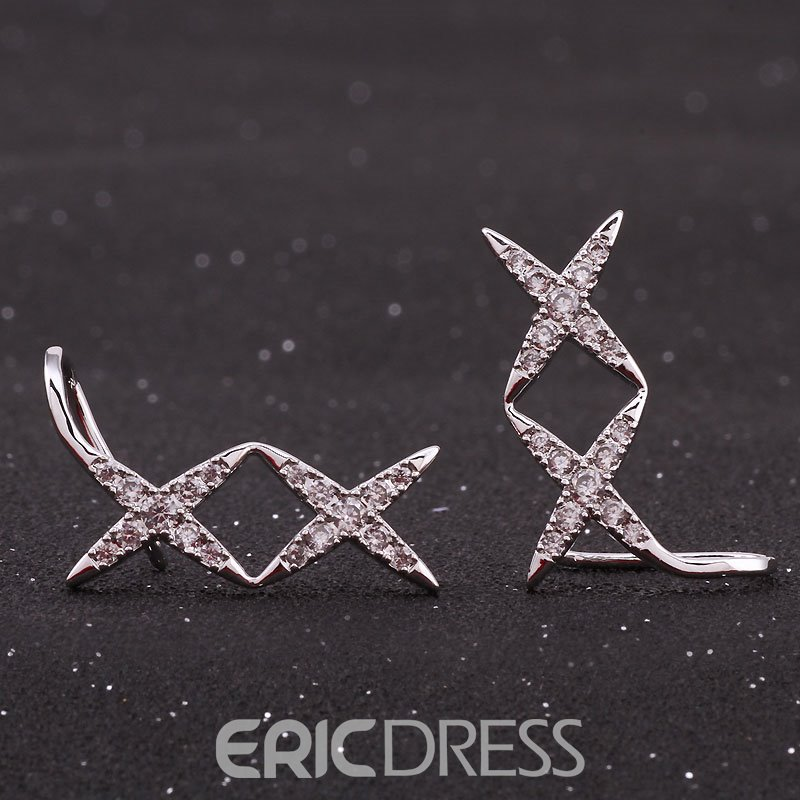 Ericdress Sweet S925 Silver Diamante Fashion Earring