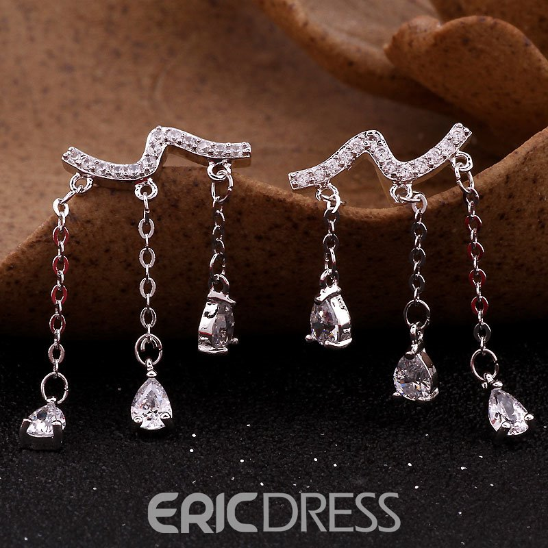 Ericdress Tassel Diamante S925 Silver Women's Ear Cuff