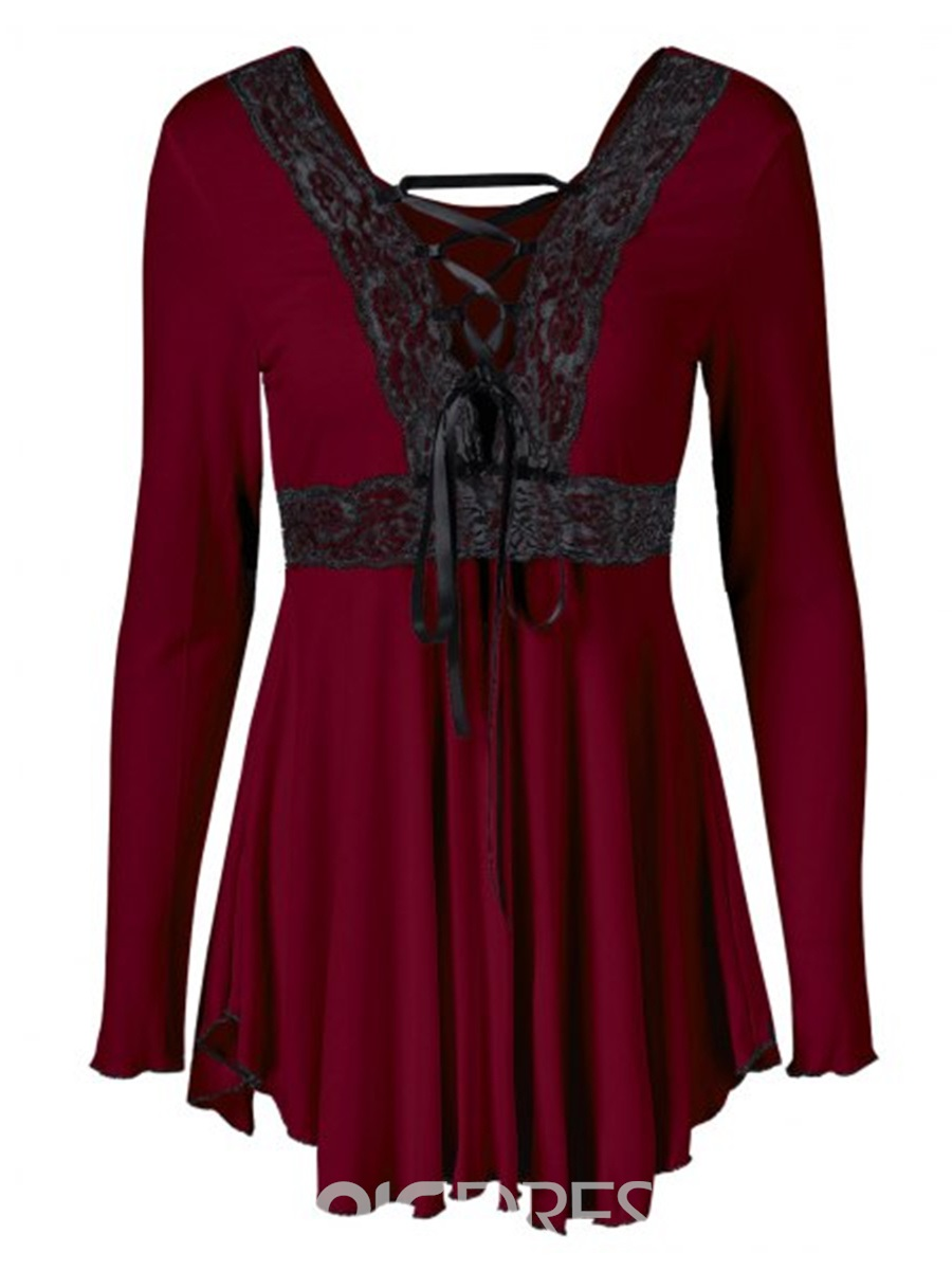 Ericdress Cross Strap Lace Trim Pelplum Tunic T-Shirt