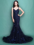 Ericdress Spaghetti Straps Applique Mermaid Evening Dress With Deep Back