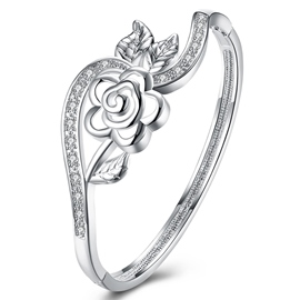 Ericdress Splendid Flower Design Silver Plated Bracelet