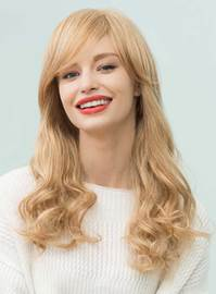 Ericdress Long Natural Wavy Side Part Bangs Human Hair Blend Capless Wigs 22 Inches