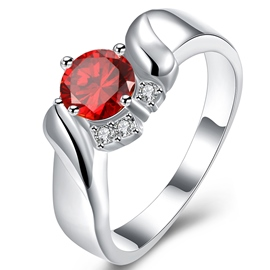 Ericdress Red Ruby Four-Claw Ring for Women