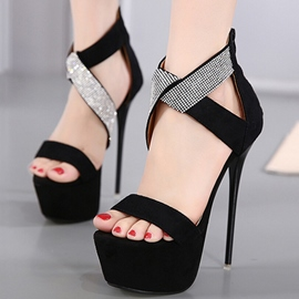 Ericdress Suede Platform Open Toe Ultra High Stiletto Sandals