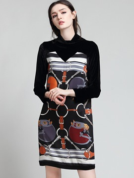 Ericdress Turtleneck Print Patchwork Straight Above Knee Casual Dress