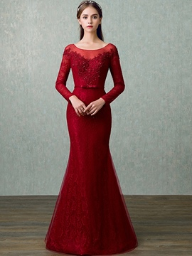 Ericdress Elegant Long Sleeve Lace Applique Mermaid Evening Dress