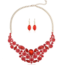 Ericdress Charming Red Rhinestone Flowers Jewelry Set