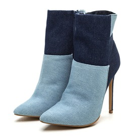 Ericdress Contrast Color Denim Boots
