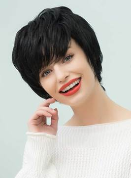 Ericdress Loose Pixie Natural Black Layered Short Straight Human Hair With Bangs Capless Cap Wigs 10 Inches