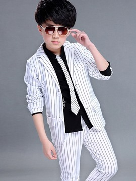 Ericdress Two Pieces Stripe Blazer Pants Boys Suit