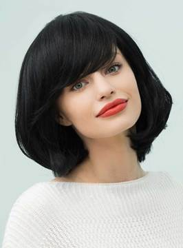 Ericdress Loose Bob Natural Black Medium Straight Human Hair With Bangs Capless Cap Wigs 14 Inches