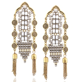 Ericdress Diamante Tassels Metal Carved Earrings