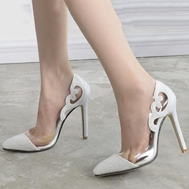 Ericdress Transparent Patchwork Rhinestone Point Toe Pumps