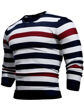 Ericdress Color Block Stripe V-Neck Pullover Men's Sweater