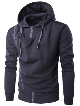 Ericdress Plain Zip Unique Design Casual Men's Hoodie