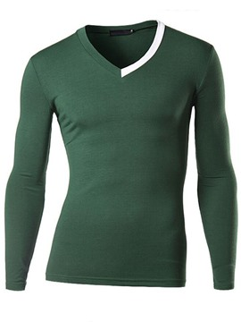 Ericdress Unique V-Neck Long Sleeve Men's T-Shirt