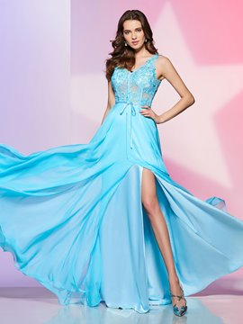 Ericdress A Line V Neck Side Slit Lace Chiffon Floor Length Long Prom Dress