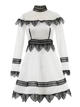 Ericdress Color Block Stand Collar Hollow Lace Dress