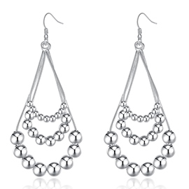 Ericdress Water Droplets Three Line Beaded Earrings