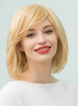 Ericdress Medium Straight Human Hair With Side Swept Bangs Capless Cap Wigs 14 Inches