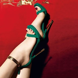 Deep Green Dress Sandals