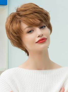 Ericdress Graceful Short Feathered Pixie Haircut with Wispy Bangs Human Hair Blend Capless Wigs 10 Inches