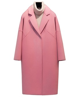 Ericdress Solid Color Polo Loose Coat