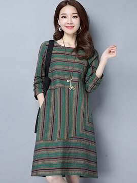 Ericdress Strip Stylelines Round Collar Pocket Loose Casual Dress