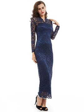 Ericdress V Neck Long Sleeves Ankle-Length Lace Evening Dress
