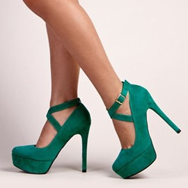 Greenery Cross Wrap Sky High Platform Heels