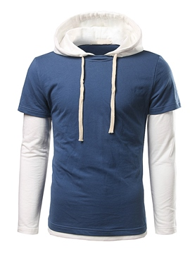 Ericdress Color Block Double-Breasted Pullover Casual Men's Hoodie