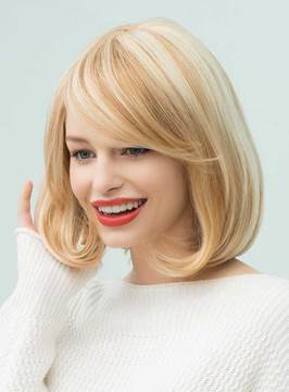 Ericdress Bob Hairstyles Straight Mixed Color Mid-Length Human Hair Capless Wigs 14 Inches