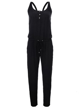 Ericdress Backless Suspenders Lace-Up Loose Jumpsuits Pants