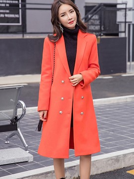 Ericdress Double-Breasted Slim Solid Color Lady Coat