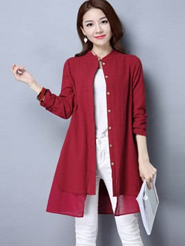 Ericdress Double Layer Hem Solid Color Blouse