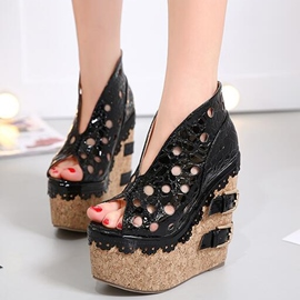 Ericdress PU Platform Cut Out Peep Toe Wedge Sandals