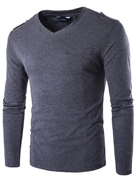 Ericdress Plain V-Neck Slim Long Sleeve Men's T-Shirt