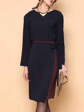 Ericdress Plain Round Neck Lace-Up Color Block Sheath Dress