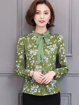 Ericdress Floral Print Tie Bow Front Blouse