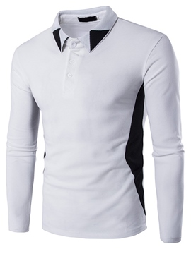 Ericdress Shirt Collar Color Block Casual Men's T-Shirt