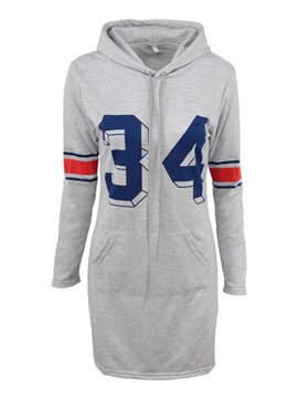 Ericdress Sport Hooded Print Pullover Casual Dress