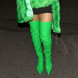 Ericdress Emerald Green Pointed Toe Over the Knee Boots