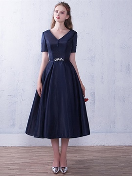 Ericdress Vintage A Line Short Sleeve Ankle Length Evening Dress